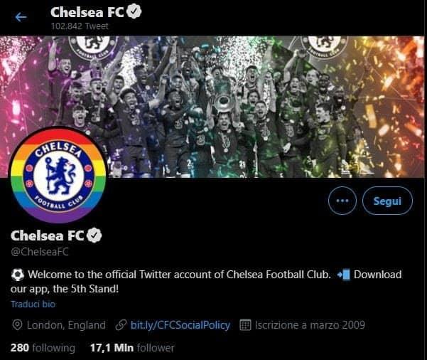 L'home page del profilo Twitter del Chelsea