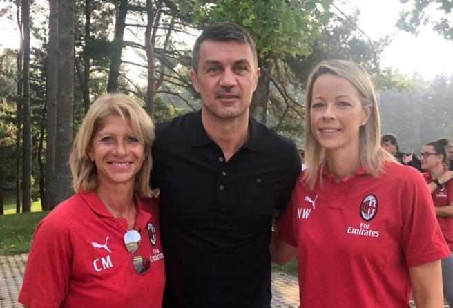 Carolina Morace e Nicola Jane Williams ai tempi del Milan, insieme a Paolo Maldini